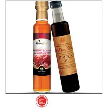 Raspberry Blossom Vinegar and Pumpkin Oil