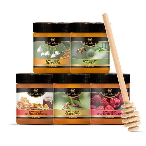 Five Pack Raw Honeys w Dipper